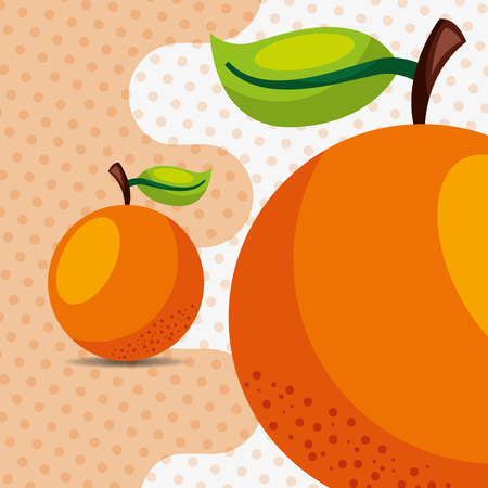 fresh fruit natural orange on dots background vector illustration