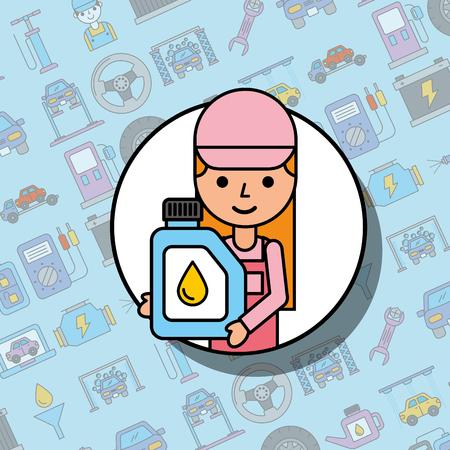 mechanic girl holding engine oil canister car service vector illustration