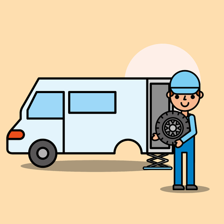 worker mechanical tire change car service vector illustration