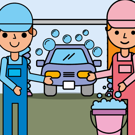 mechanic girl and boy holding bucket car wash service vector illustration Иллюстрация