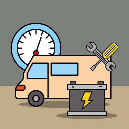 car service repair speedometer battery and tools vector illustration Illustration