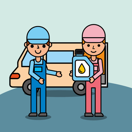 mechanic boy and girl engine oil car service vector illustration