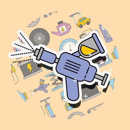 painting car service sprayer equipment vector illustration