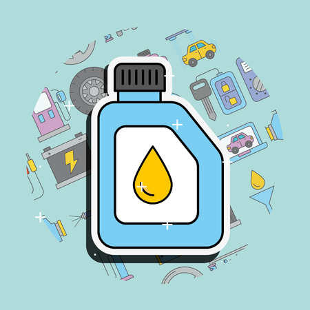 car service engine oil lubricant canister vector illustration