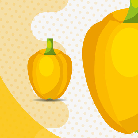fresh vegetable yellow pepper bell on dots background vector illustration Stock Illustratie