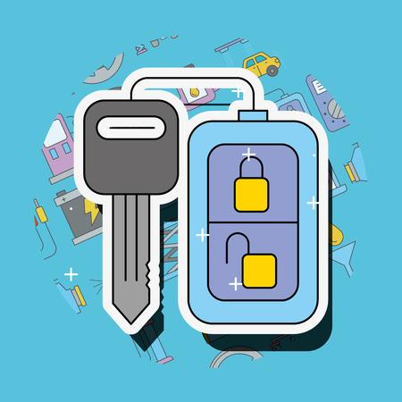 remote key system car service vector illustration