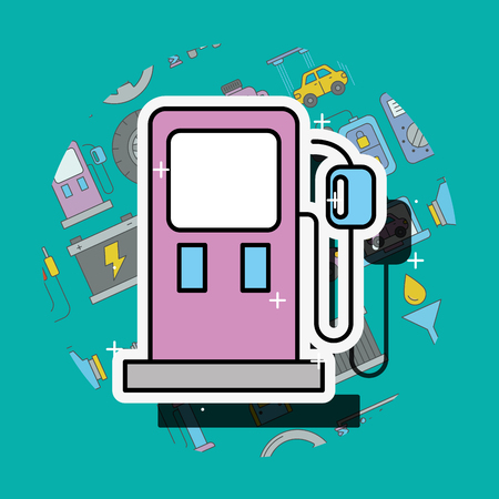pump gasoline station car service vector illustration