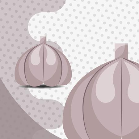 fresh vegetable garlic on dots background vector illustration