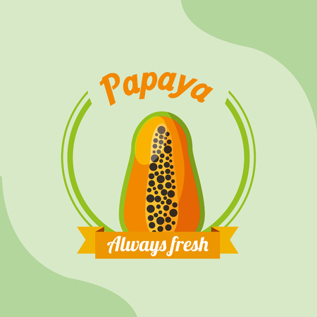 fruit papaya always fresh emblem vector illustration Иллюстрация