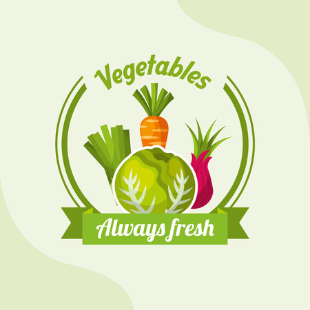 vegetable lettuce carrot onion chives always fresh emblem vector illustration