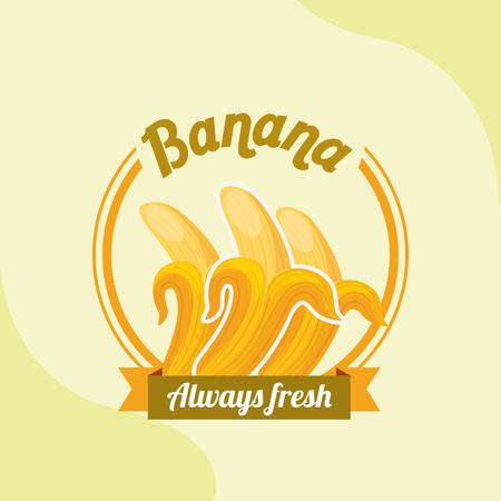 fruit banana always fresh emblem vector illustration