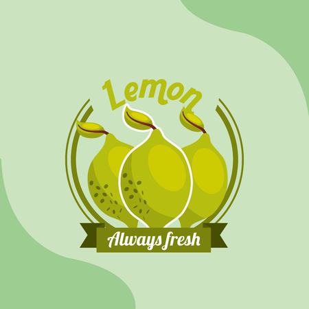 fruit lemon always fresh emblem vector illustration