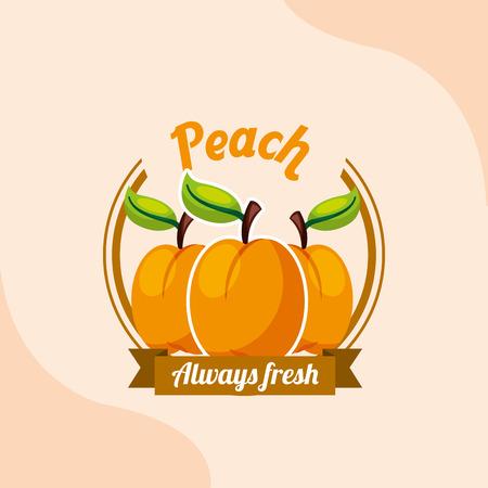 fruit peach always fresh emblem vector illustration