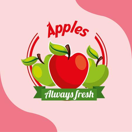 fruit apples always fresh emblem vector illustration