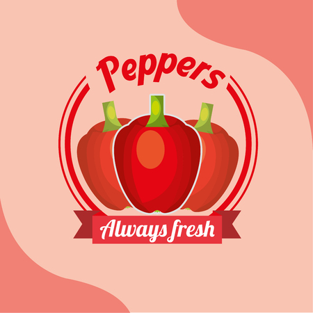 vegetable red peppers always fresh emblem vector illustration