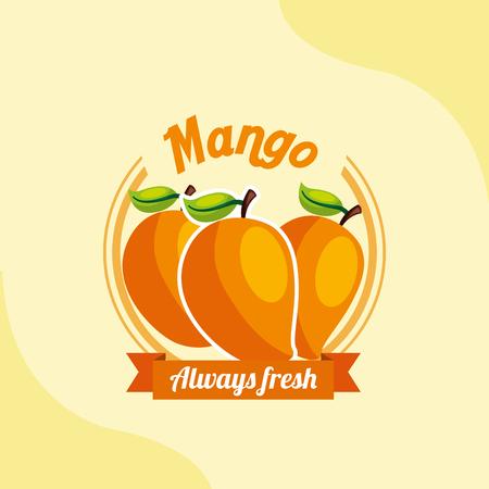 fruit mango always fresh emblem vector illustration