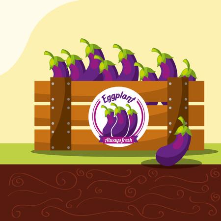 eggplant vegetable always fresh in wood basket vector illustration Stock Illustratie