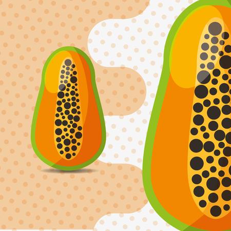 fresh fruit natural papaya on dots background vector illustration