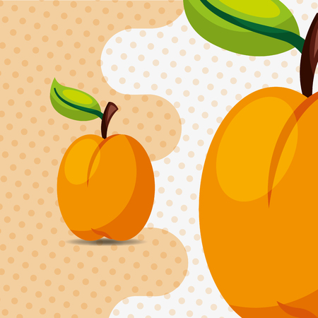 fresh fruit natural peach on dots background vector illustration