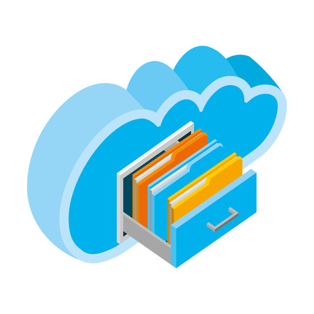 cloud computing with drawer and folders isometric icon vector illustration design