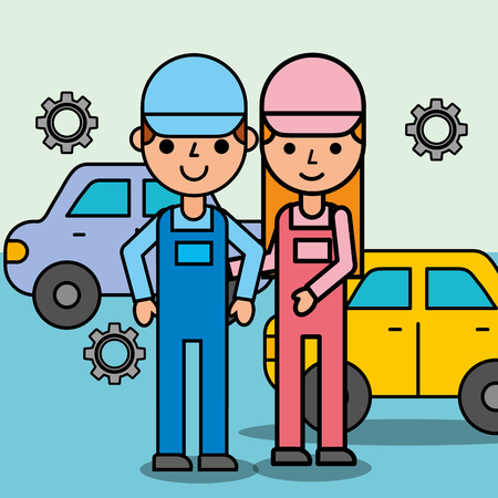 mechanic girl and boy characters car service vector illustration