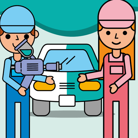 mechanic girl and boy with painting airbrush car service vector illustration