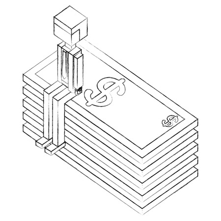 businessman sitting in pile of bill dollars isometric icon vector illustration design Illustration