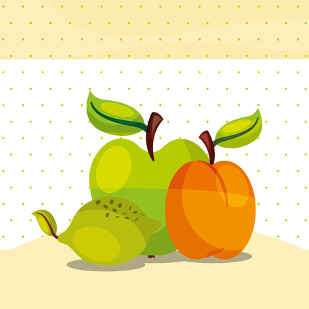 fruits fresh organic healthy lemon peach green apple vector illustration