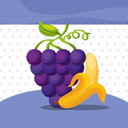 fruits fresh organic healthy grapes banana vector illustration