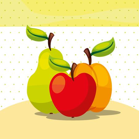 fruits fresh organic healthy apple peach pear vector illustration Foto de archivo - 101810998