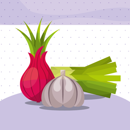 vegetables fresh organic healthy onion chives garlic vector illustration Ilustrace
