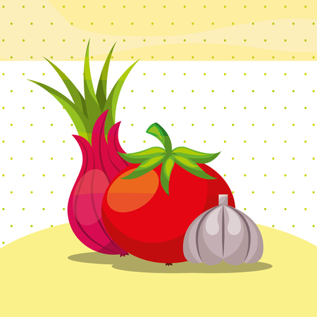 vegetables fresh organic healthy onion tomato garlic vector illustration Illustration