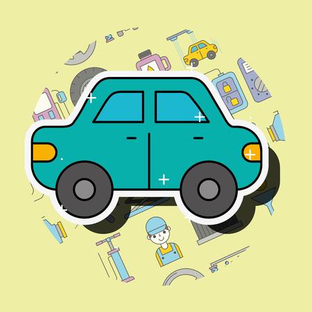 car sedan cartoon side view service repair vector illustration Banque d'images - 101811021