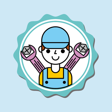 mechanic boy in overalls with tools car service vector illustration Illustration