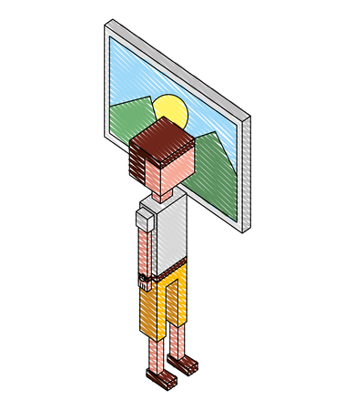 young man picture isometric icon vector illustration design