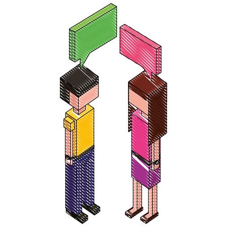 couple with speech bubble isometric icon vector illustration design  イラスト・ベクター素材