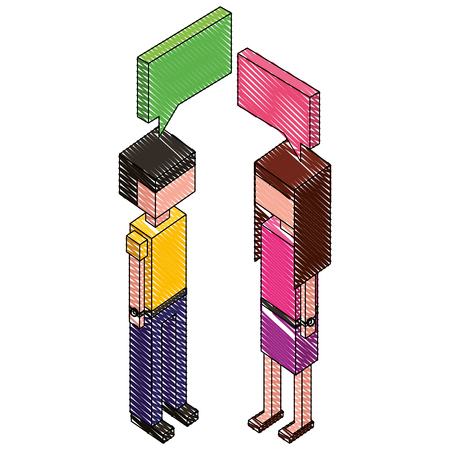 couple with speech bubble isometric icon vector illustration design Illustration