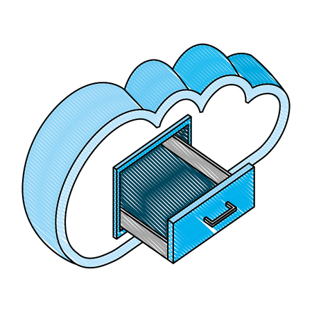 cloud computing with drawer isometric icon vector illustration design Archivio Fotografico - 101819980