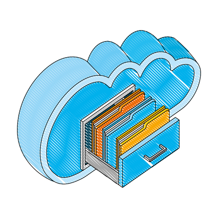 cloud computing with drawer and folders isometric icon vector illustration design Stock Vector - 101819557
