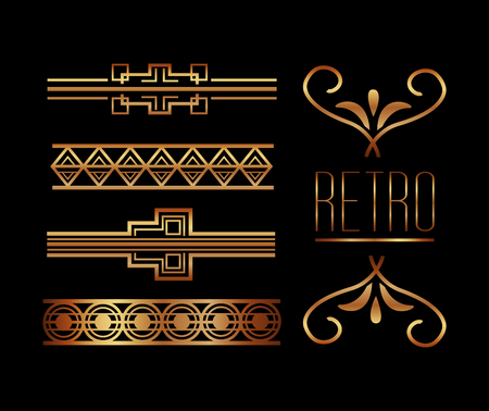 borders ornate gold decoration vintage retro style  イラスト・ベクター素材