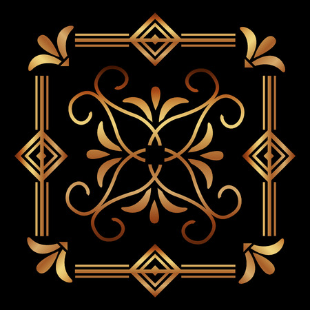elegant antiquarian frame in art deco style filigree ornament vector illustration Illustration