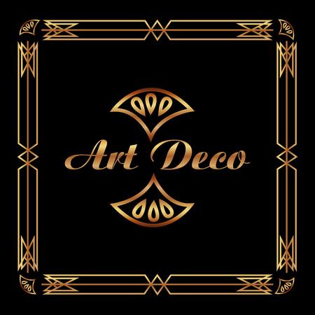 art deco frame elegant decorative square style vector illustration green