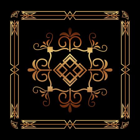 art deco ornamental decorative frame floral template vector illustration green