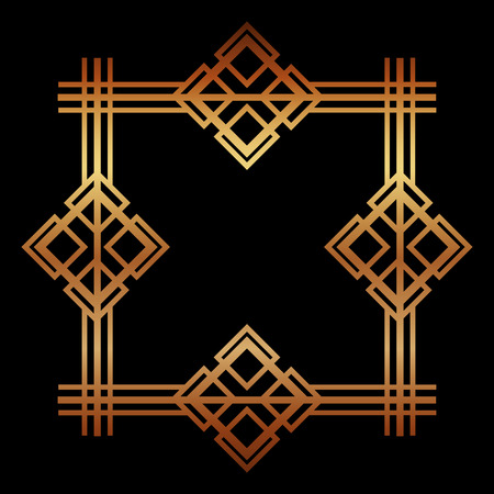 golden art deco frame royal decorative geometric vector illustration Foto de archivo - 101820111