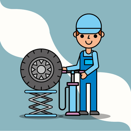 mechanic boy with pump wheel car service vector illustration Illustration