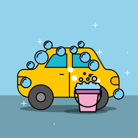 car wash service bucket soap bubbles vector illustration