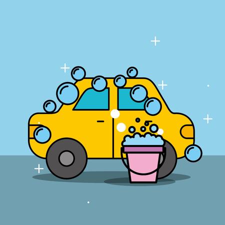 car wash service bucket soap bubbles vector illustration