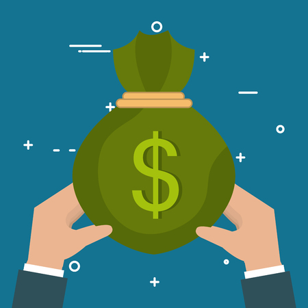 hands with money bag vector illustration design