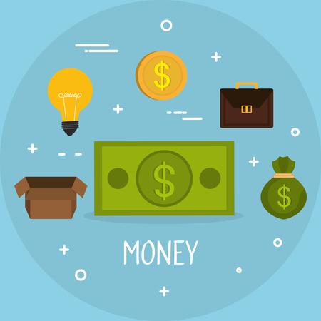 money finances set icons vector illustration design