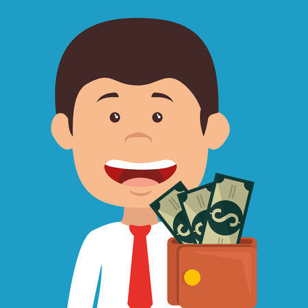 businessman with wallet money avatar character vector illustration design
